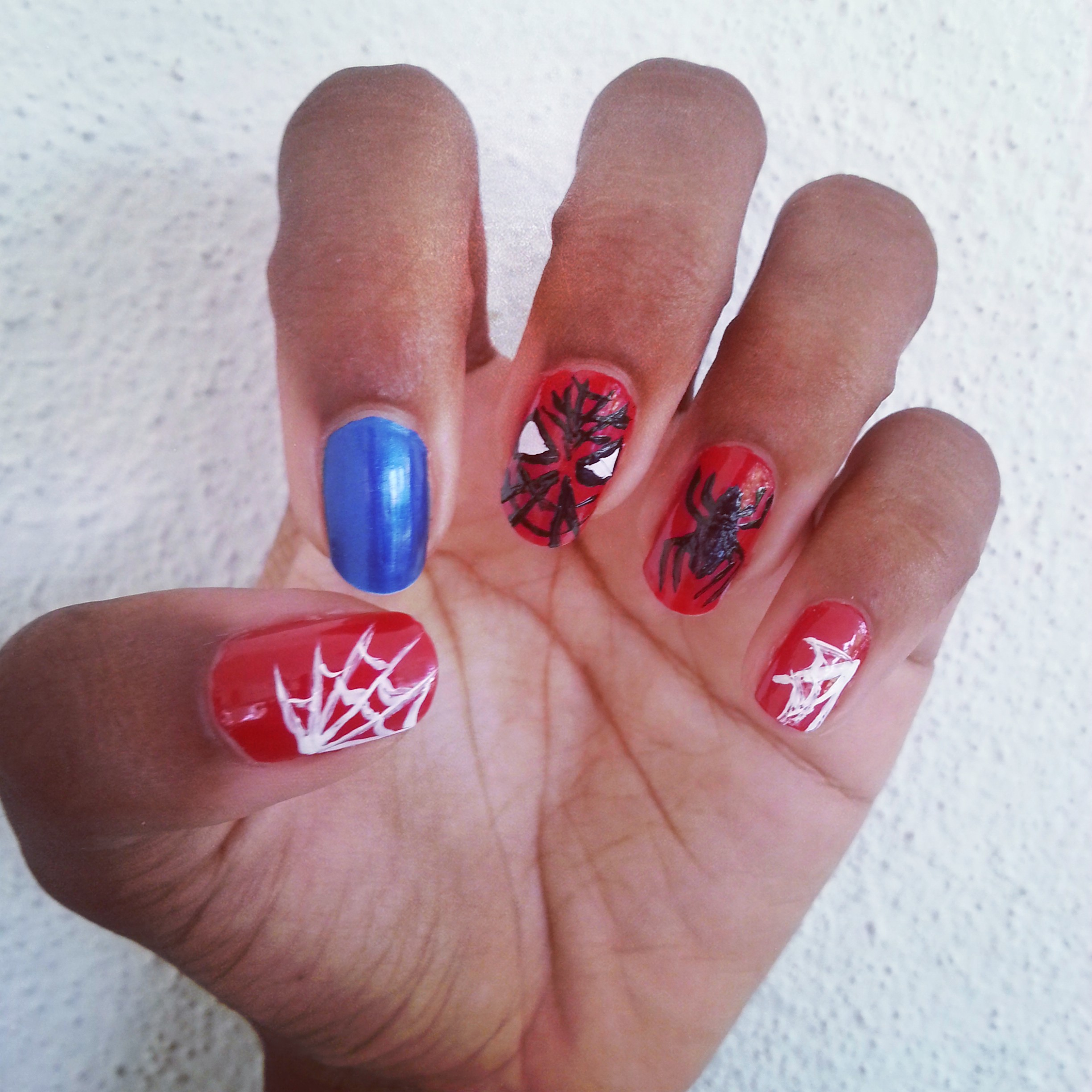 Diy spiderman nail art deeper than fashion nail art for this comic book superhero img20140429181405 prinsesfo Choice Image